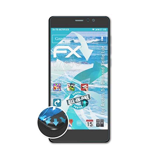 atFolix Schutzfolie kompatibel mit Archos 55 Diamond Selfie Lite Folie, ultraklare & Flexible FX Bildschirmschutzfolie (3X)