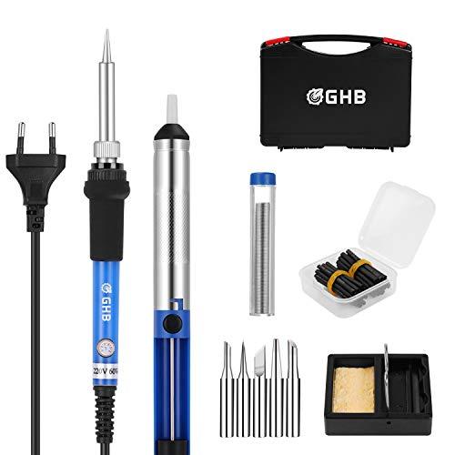 GHB Fer à Souder Electrique Kit de Soudage 60W Température Réglable avec 5 Pointes de Soudure, Fil de Soudure, Pompe à Dessouder pour Projets Différents avec Mallette de Transport