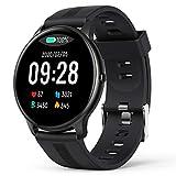 AGPTEK Smartwatch Orologio Fitness Impermeabile IP68, Cardiofrequenzimetro da Polso Uomo con Touchscreen 1.3', Smart Watch Sportivi Controllo Musica Cronometro Contapassi (Nero)