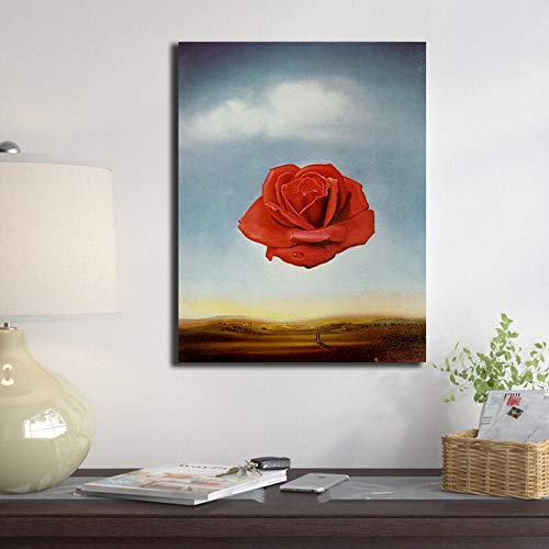wopiaol Sin Marco Salvador Dali Meditativo Rose Flower Poster Painting Wall Art Posters and Prints Cuadros Pictures Decoración para el hogar para la Sala de Estar