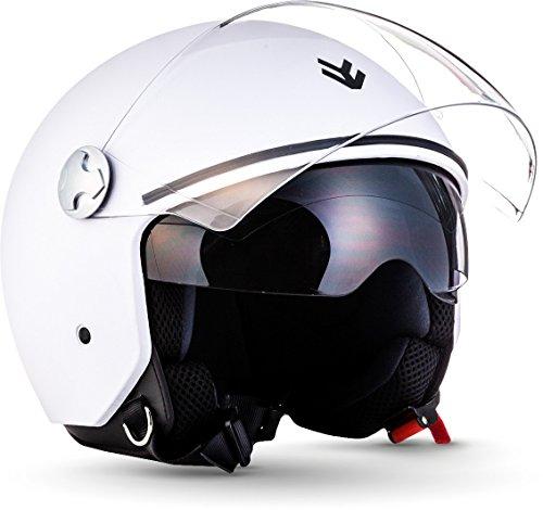 "ARMOR Helmets® AV-63 ""Matt White"" · Jet-Helm · Motorrad-Helm Roller-Helm Scooter-Helm Moped Mofa-Helm Chopper Retro Vespa Vintage Pilot · ECE 22.05 Sonnenvisier Schnellverschluss Tasche L (59-60cm)"