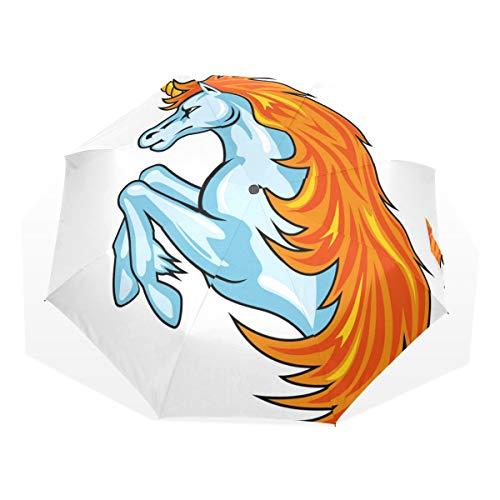 ISAOA Paraguas de Viaje automático, Paraguas Plegable Fantasy Unicornio, Resistente al Viento, Ultra Ligero, protección UV, Paraguas Compacto, asa para fácil Transporte para Mujeres y Hombres