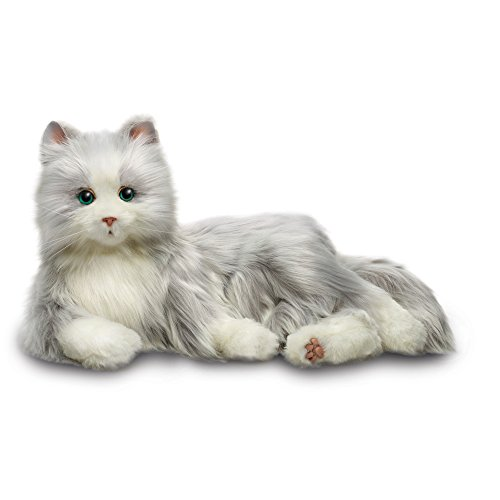 JOY FOR ALL - Silver Cat with White Mitts - Interactive Companion Pets - Realistic & Lifelike