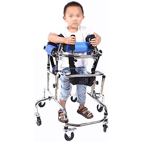 HDGRNCC Walking Aid Marco De Pie para Niños con Asientos, Equipo De Entrenamiento De Rehabilitación De Hemiplejia con Parálisis Cerebral para Niños, Caminante Plegable Asistido por Niños con 6
