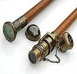 Set of Two Compass/Telescope Wood Walking Stick-Cane Brass Compass/Telescope Handle