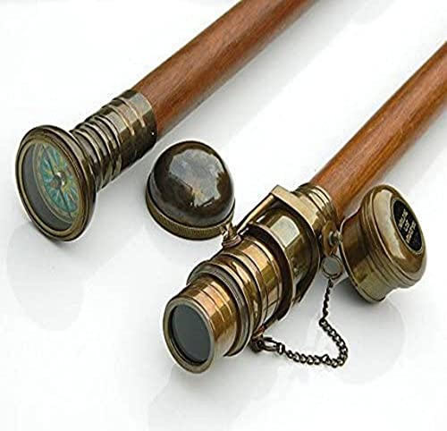 Conjunto de duas bússolas/telescópio de madeira para caminhada, bastão de latão, bússola/alça telescópica