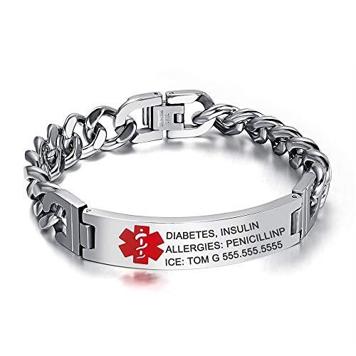 Gaosh Pulseras de grabado de identificación de alarma personalizada unisex Pulsera de acero inoxidable Pulsera elástica Brazalete con emblema médico grabado 10 mm de plata para hombres y mujeres