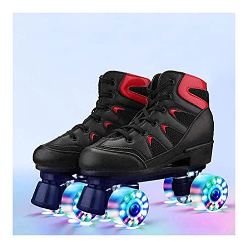ZXSZX Skates Scooter Patinaje Patinador Patines, Pista Hielo Profesional Fresco LED Parpadeante Rolling Boots Zapatos Rodillo Doble Fila Deportes Adultos Niñas Y Niños,Schwarz-Leuchtrad-39