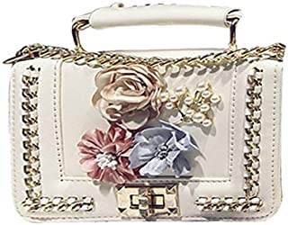 Women's Floral Handbag PU Leather Top Handle Purse Elegant Venonat Pendant Shoulder Bag