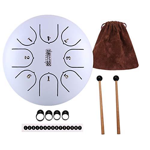 MINGDIAN Tambor de Lengua de Acero de 6 Pulgadas y 8 Notas, Kit de Tambor de Mano de Loto portátil con batidores y Bolsa para niños, educación Musical, curación Mental, meditación, Yoga