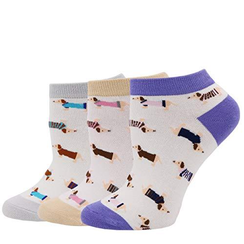 COCO TOE® Damen Socken Hunde Motive Dackel Socken Dog Socks (OneSize, Dog06)