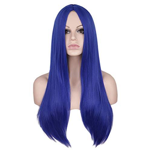 Cuir Chevelu Mi-long Noir Cheveux Raides Anime Perruque Stade Performance Cos Femme Teinture Chaude 70cm (Color : Royal blue)