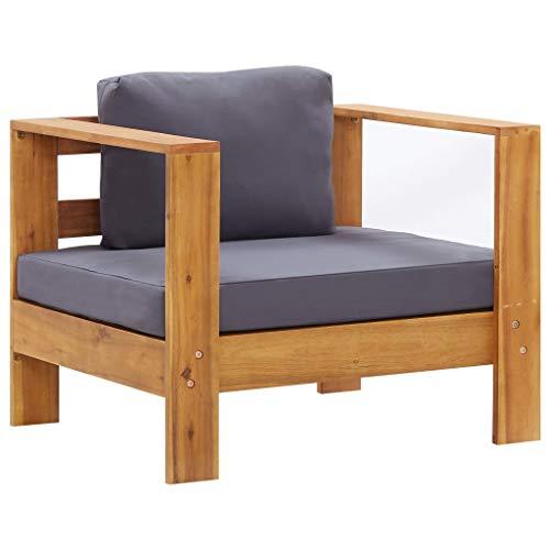 vidaXL Bois d'Acacia Solide Chaise de Jardin avec Coussin Fauteuil de Patio Siège de Terrasse Chaise d'Extérieur Balcon Gris Foncé