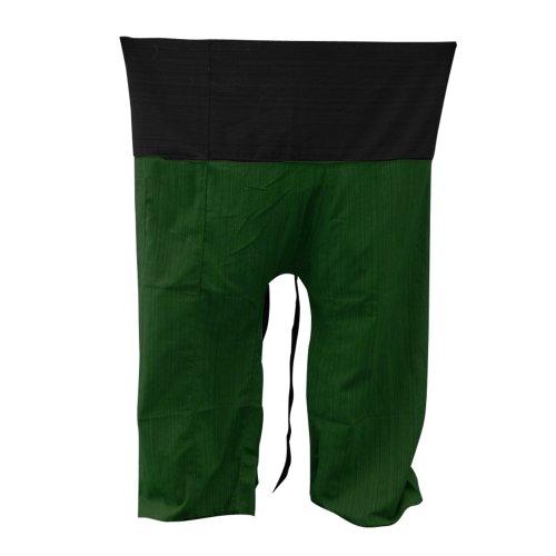 kittiya 2Tone Thai Fisherman Pants Yoga Trousers FREE SIZE Plus Size Cotton Striped Cotton [Black-Green]