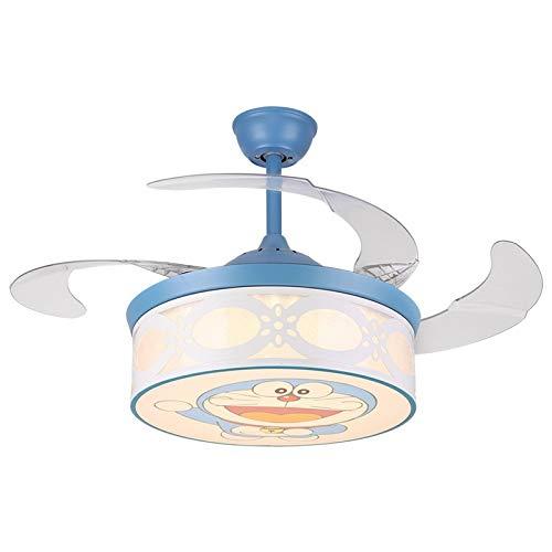 OUPPENG Lámpara de Ventilador Habitación infantil Doraemon Invisible Fan Lámpara Dormitorio familiar Sala de estar Sala Comedor Simple Boy Techo Ventilador Lámpara (Blade Color : Blue)