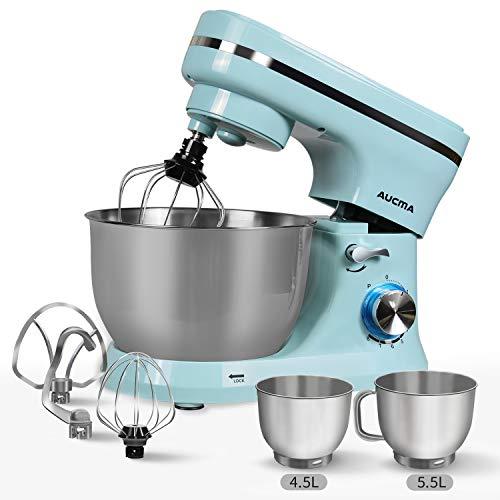 Küchenmaschine,AUCMA Knetmaschine 1300W mit 5,5L Edelstahl-Rühlschüssel, Rührbesen, Knethaken, Schlagbesen und Spritzschutz, 8 Geschwindigkeit Geräuschlos Teigmaschine, Blau