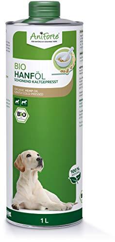 AniForte kaltgepresstes Bio Hanföl für Hunde & Pferde 1 Liter - 100{65fe9f04a4f53dc77e3740040a6c61e5db14085012d00833a49d45c4516bd588} reines Barf Öl als Zusatz, Premium Hanföl, Naturprodukt ohne Zusätze, Recyclebare Verpackung ohne BPA