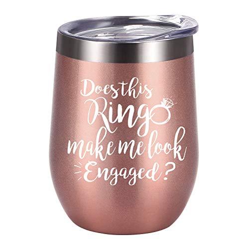 """Weinglas mit Aufschrift """"Does This Ring Make Me Look Engaged"""", Verlobungsgeschenkidee für Brautparty, isoliertes Weinglas, Hochzeitsgeschenk für Brautpaare 12oz rose gold"""