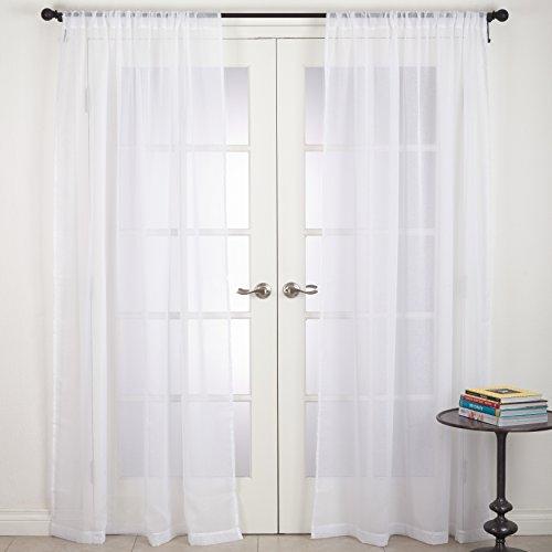 "SARO LIFESTYLE Zephyr Collection Rod Pocket Sheer Window Curtain Panel, 54"" x 108"", White"