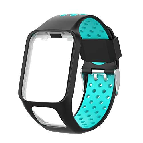Ixkbiced Correa de Reloj de Pulsera de Repuesto de Silicona de Dos Tonos para Tomtom Runner 2 3 Spark 3 GPS Watch Fitness Tracker