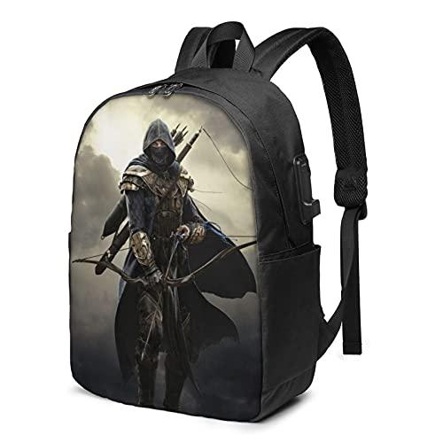 Assassin's Creed Unity-Rucksack mit USB-Lade- und Kopfhöreranschluss, für Schule, Arbeit, Reisen, Jungen, Mädchen, Erwachsene, Schwarz