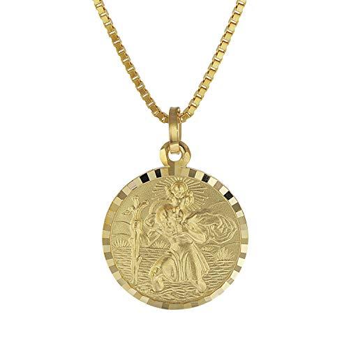 trendor Christophorus Anhänger Gold 333 mit plattierter Herren-Halskette 08520-60 60 cm