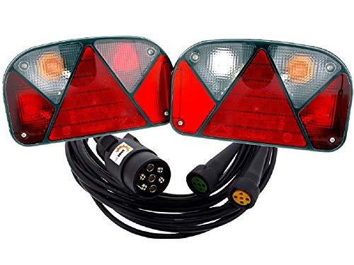 Jeu de feux arrière Aspöck Multipoint 2 II de The Drive, droite + gauche avec antibrouillard + câble de raccordement de 5 m, 7 broches