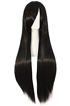 MapofBeauty 32  80cm Long Straight Anime Costume Cosplay Wig Party Wig  Black