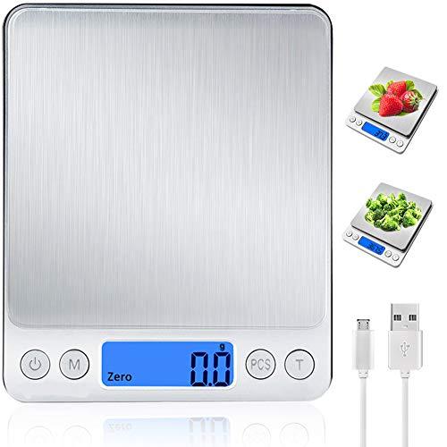 Báscula Digital para Cocina con Carga USB,Balanza de Alimentos Multifuncional Alta Precisión(3 kg-0.1g) Peso de cocina Electrónica con LCD Retroiluminación, Plata [Clase de eficiencia energética A++]