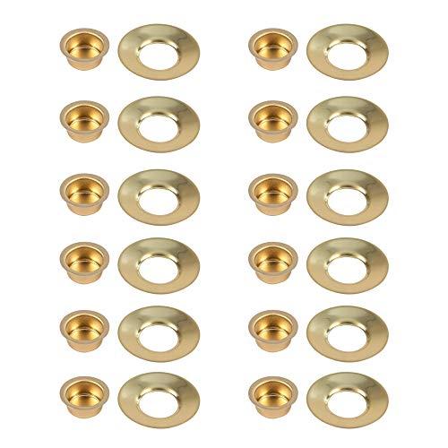 Kerzeneinsatz aus Metall mit passendem Tropfenfänger für Wachs, Durchmesser 12 mm, Kerzentülle mit Tropfschale Kerzenhalter aus Metall für Baumkerzen, Puppenkerzen und Pyramidenkerzen, 12er-Set