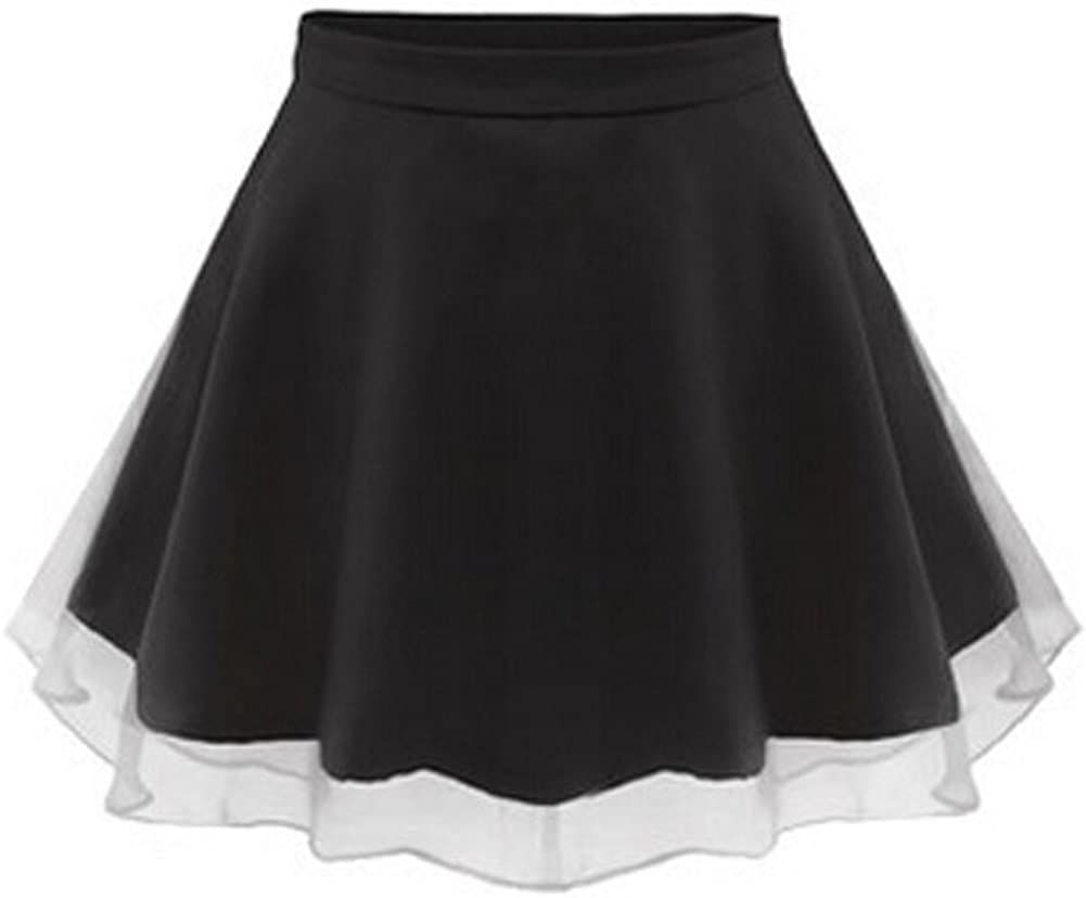 Pure Colour High Waist Chiffon Short Skirt All-Match Skirt Black, L (Asian Size)
