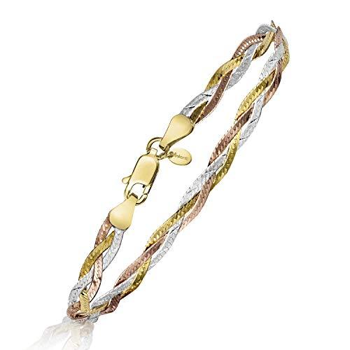 Amberta Bracelet pour Femmes en Argent 925/1000 Maille Miroir 5 mm Longueur 19 cm: Multicouleurs