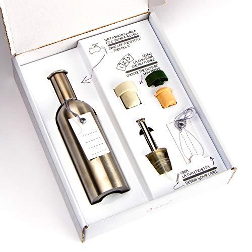 Kit bottiglia per olio in acciaio inox 250 cc con tappi versatori di diversi tipi e cartoncini personalizzabili, ecosostenibile, perfetta come oliera, borraccia e per conservare distillati.