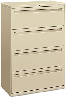 HON Products - HON - Brigade 700 Series Four-Drawer Lateral File, 36w x 19-1/4d x 53-1/4h, Putty - Sold As 1 Each - Counterweight included, where applicable, to meet ANSI/BIFMA requirements. - Lock secures both sides of drawer. - Three-part telescoping slide suspension. - Leveling glides adjust for uneven floors. - Mechanical interlock allows only one drawer to open at a time to inhibit tipping.