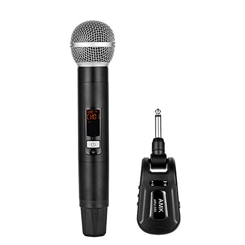 Rechargeable Mini Wireless Microphone System, AMK UHF Cordless Mic with 20 Selectable Frequencies, 95ft, Handheld Dynamic Mic Microfono for Karaoke Meeting Church (ARU-555A)
