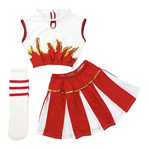 FEESHOW 3-teilig Mädchen Cheerleading Kostüm Kleid Uniform Bekleidung Kinder Tanzanzug mit Socken Outfit Weiß+Rot 152-164/12-14Jahre