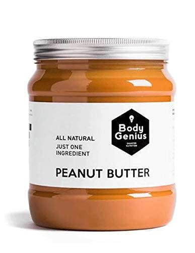 BODY GENIUS Smooth Peanut Butter. 1000g. Crema de Cacahuete Suave. Natural, Sin Azúcar y Sin Aceite de Palma. 100% Cacahuete Sin Añadidos. Hecho en España.