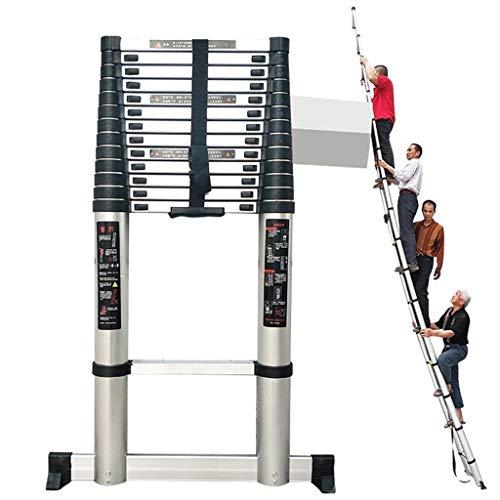 ZAQI Teleskopleiter Leiter Aluleiter Treppenleiter Extra hohe Teleskopleiter - Hochleistungs-Klappleiter aus Aluminium für Loft-Dachböden im Büro zu Hause, schwarz, 200 kg, 5 m / 6 m / 7 m / 8 m