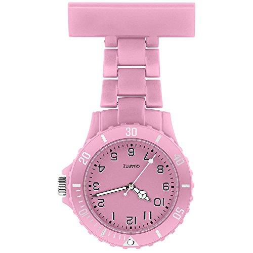 Taffstyle Damen-Uhr Analog Quarz Silikon Uhr Krankenschwesteruhr Kitteluhr mit Nadel Rosa