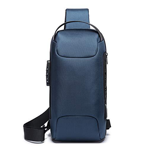FANDARE Brusttasche Sling Rucksack Daypacks mit USB für Herren Damen Schultertasche Grosse Kapazität Umhängetasche für Outdoor Sport Wandern Radfahren Bergsteigen Reisen Dauerhaft Blau