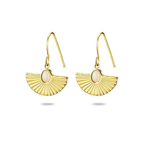 Twice AS Nice oorbellen, staal, gepolijst, goudkleurig, maansteen