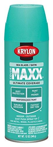 Krylon K09177000 COVERMAXX Spray Paint, Satin Sea Glass, 12 Ounce