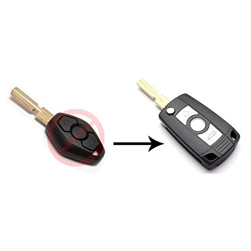 INION® Ersatz-Fernbedienung Flip Schlüssel Schale/Schlüsselanhänger/Taster mit Schlüsselrohling, ohne Elektronik
