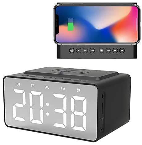 OH Cargador Inalámbrico Bluetooth Subwoofer Altavoz Reloj de Alarma Usb Carga por Teléfono Led Portátil Portátil Fm Radio Brillo Ligero y portátil.