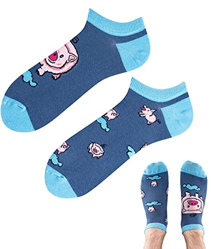 TODO Colours Lustige Socken mit Motiv - Mehrfarbige, Bunte, Verrückte für die Lebensfreude (43-46, z LOW Little Piggy, numeric_43)