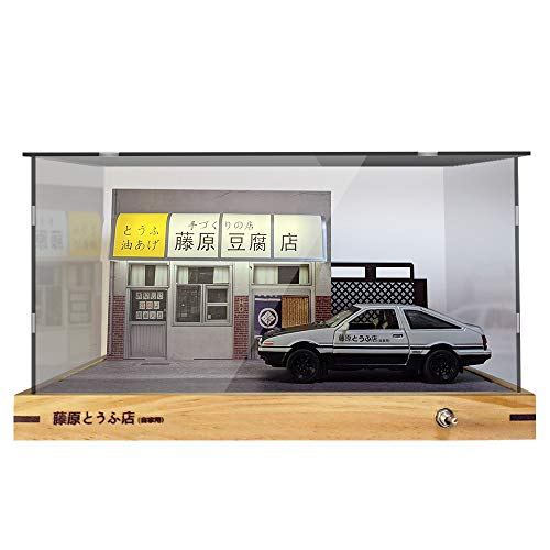1:32 Takumi ae86 Car Model Kit Scene Initial D Car with Die-cast Vehicle Led Powered by USB JDM Model Car Toy Gift Easy Assembled for 8 Years Old Children