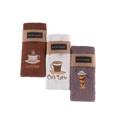 Pasam Home Coffee Kitchen Towels and Dishcloths Sets 12x20 inch Fancy and Multifunctional 3 Piece Set Dish and Hand Towel