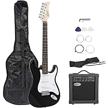 ZENY 39  Full Size Electric Guitar with Amp Case and Accessories Pack Beginner Starter Package Black