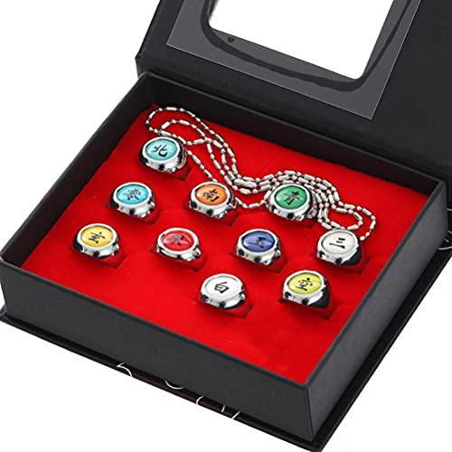 Brteyes Conjunto e colar de 10 peças de anéis Naruto para cosplay Akatsuki anéis de anime ajustáveis com caixa de acessórios de festa presentes
