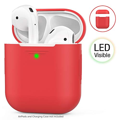 AHASTYLE AirPods Hülle Silikon AirPods Hülle [Front-LED Sichtbar] Kompatibel mit Apple AirPods 2 und 1 (2019) (Ohne Karabiner, Rot)